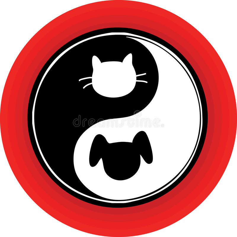 yin yang cat dog stock illustration illustration of fate 23033396 rh dreamstime com Yin and Yang Shape Dog Cat Line Art Anime Yin and Yang