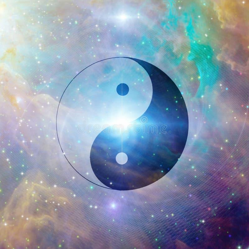 Yin Yang Celestial. Yin Yang Sigh in Vivid Universe stock illustration