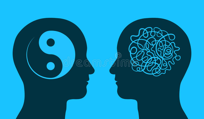 Yin yang and chaos symbol in thinking heads royalty free illustration