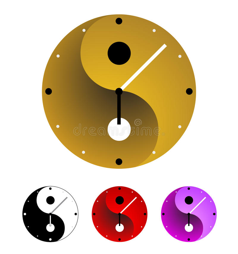 Yin yang clock. In .This image is a illustration and can be scaled to any size without loss of resolution in ai format stock illustration