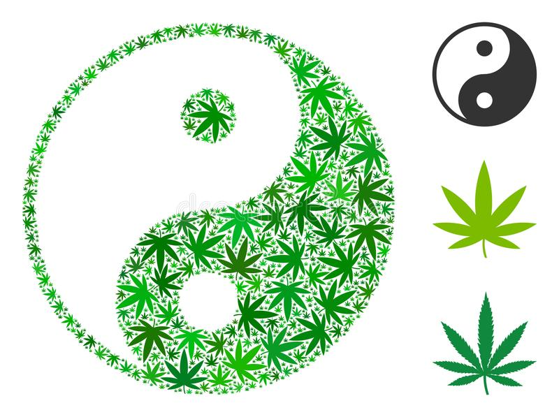 Yin Yang Collage de las hojas del cáñamo stock de ilustración
