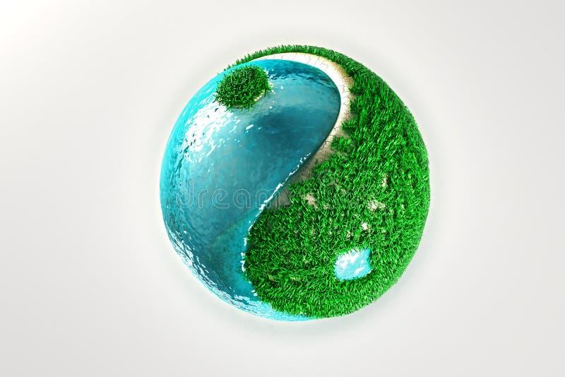 Yin Yang com grama e água ilustração royalty free
