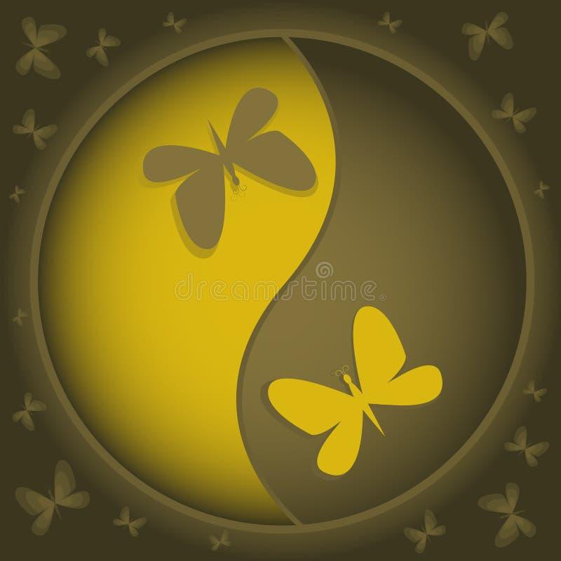 Yin-yang con las mariposas ilustración del vector