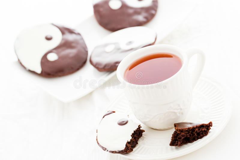 Yin and yang cookies royalty free stock photos