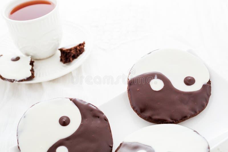 Yin and yang cookies royalty free stock photo
