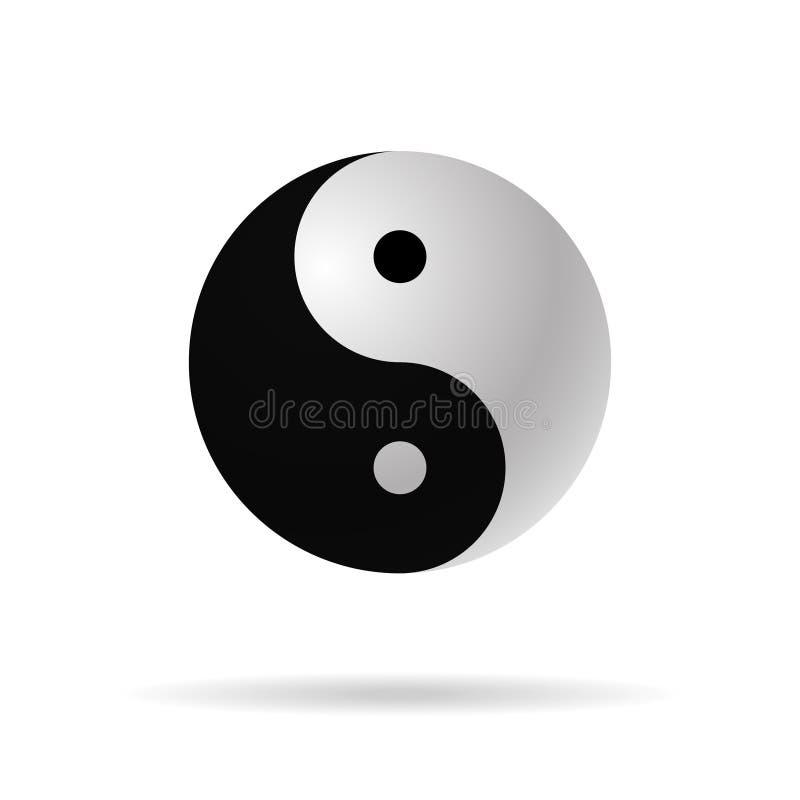 Yin yang 3d icon vector harmony symbol stock illustration