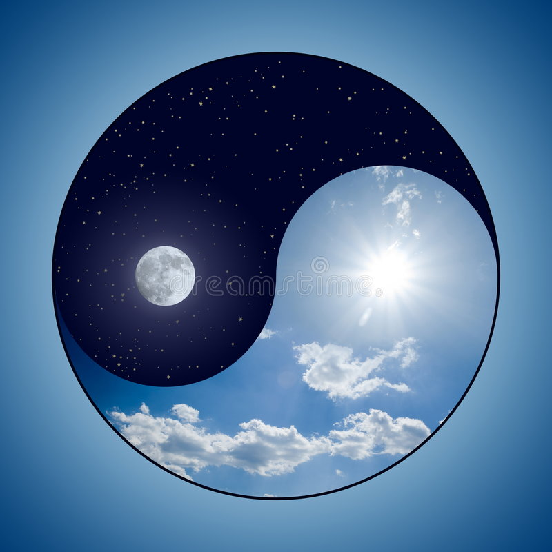 Yin & Yang - Day & Night. Modified Yin & Yang symbol - sunny day versus moon at night