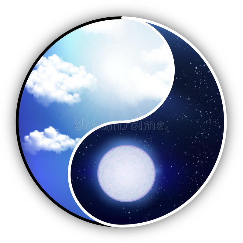 Yin and Yang is the Day that night. Yin and Yang are like night and day, vector art illustration royalty free illustration