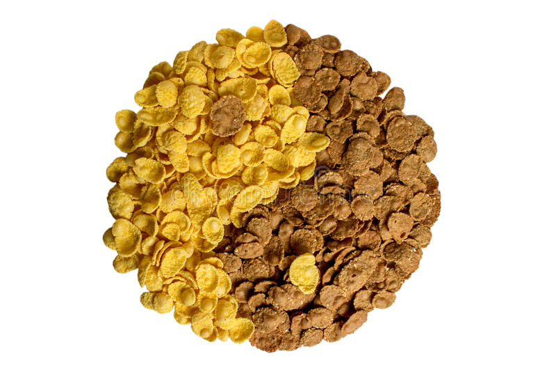Yin yang de las escamas del maíz y del alforfón imagen de archivo libre de regalías
