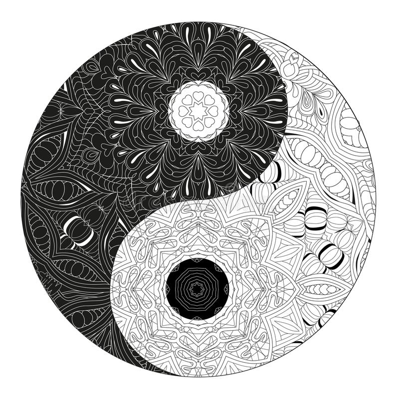 Yin and yang decorative hand drawn symbol for coloring book royalty free illustration