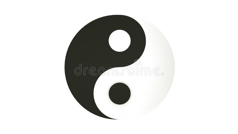 Yin yang del segno illustrazione 3D Isolato su priorit? bassa bianca illustrazione vettoriale