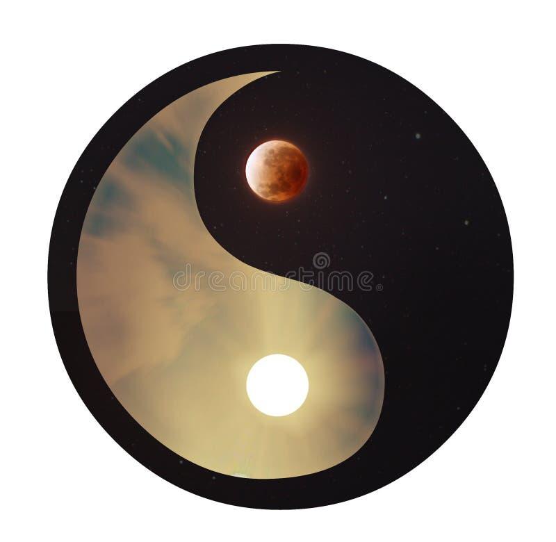 Yin & Yang - dia & noite ilustração do vetor