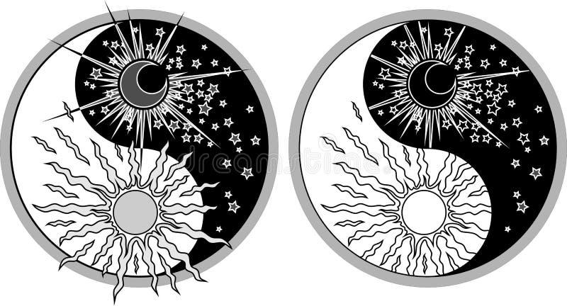Yin & Yang - dia & noite ilustração stock
