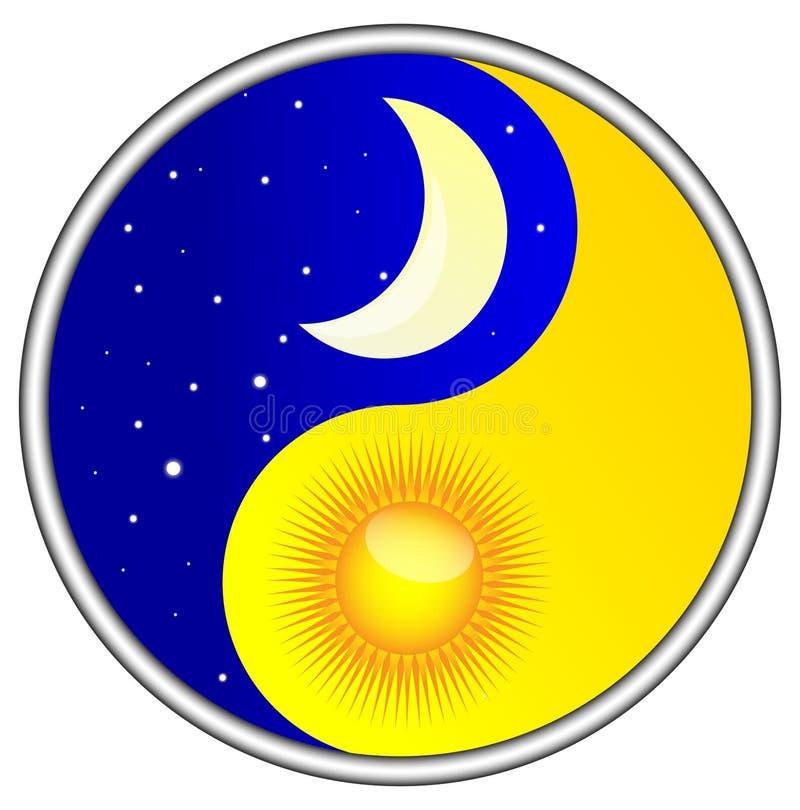Yin yang do dia e da noite ilustração do vetor