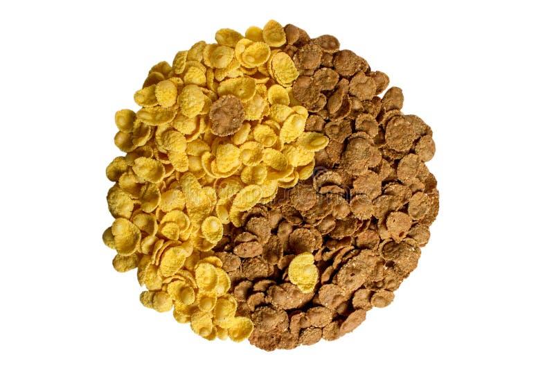 Yin yang dos flocos do milho e do trigo mourisco imagem de stock royalty free