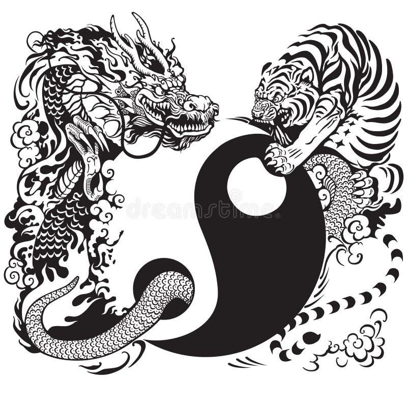 Yin yang with dragon and tiger. Yin yang symbol with dragon and tiger fighting, black and white tattoo illustration vector illustration
