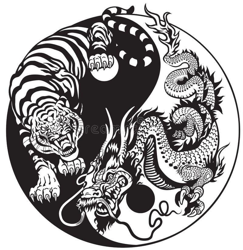 Yin yang dragon and tiger. Dragon and tiger yin yang symbol of harmony and balance. Black and white royalty free illustration