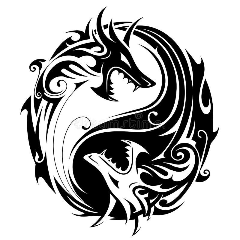 Yin yang dragons. Yin Yang tattoo symbol shaped as two fighting dragons vector illustration