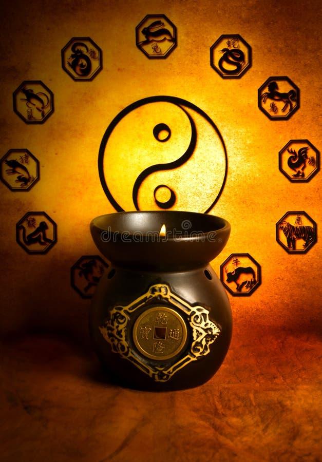 Yin yang en astrologie stock foto's