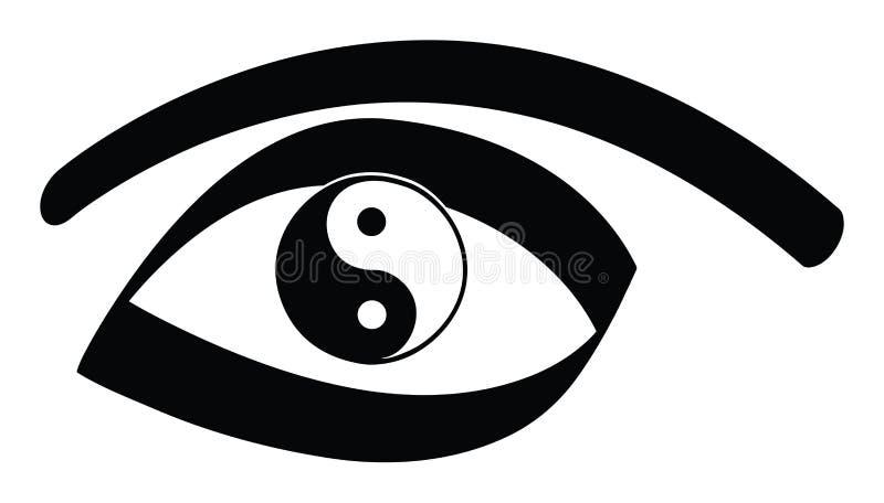 Yin yang eye. Yin yan eye on a white background vector illustration