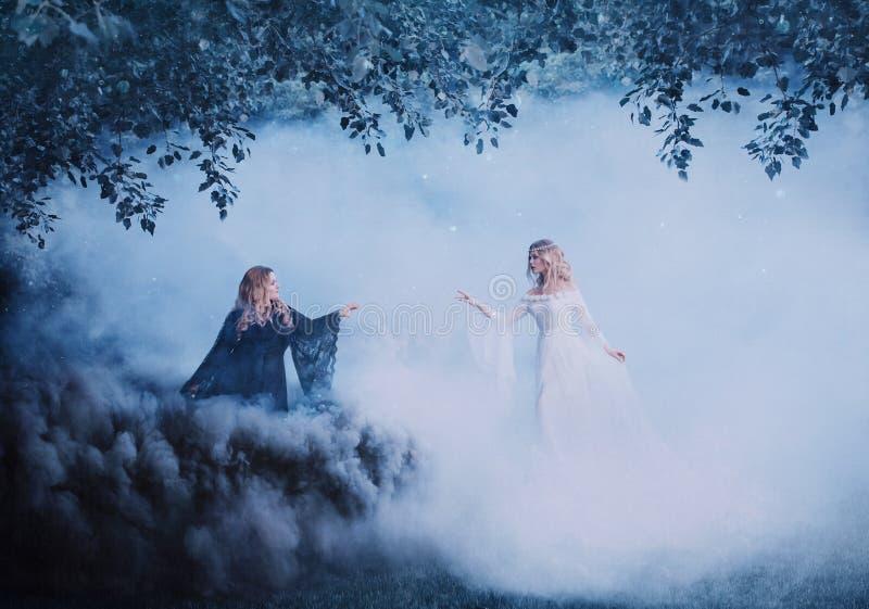 Yin yang för två kvinnor i dimman Den mörka trollkarlen möter en ljus trollkvinna Kraftiga häxor trollar i skogsvarten royaltyfri bild