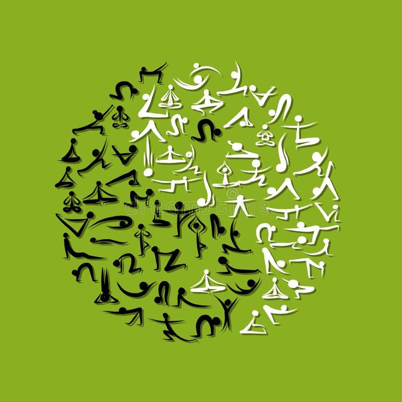 Yin Yang a fait à partir des asanas de yoga pour votre conception illustration de vecteur