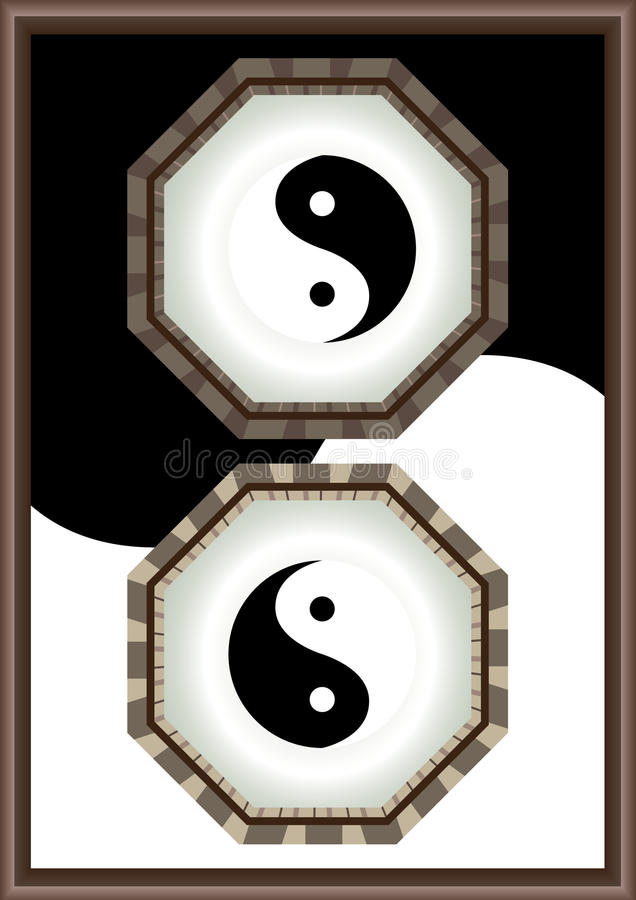 Yin Yang Frame_eps. The Eight Diagrams in Chinese mythology with Yin Yang Frame. Black and white background frame design. --- This .eps file info Document: A4 stock illustration