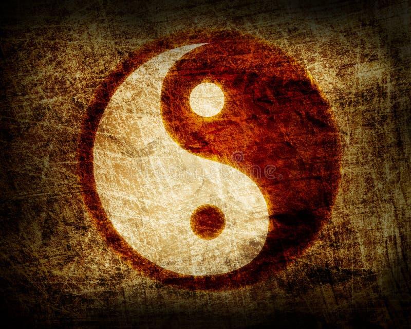 Yin and yang glowing symbol. Abstract yin and yang glowing symbol royalty free illustration