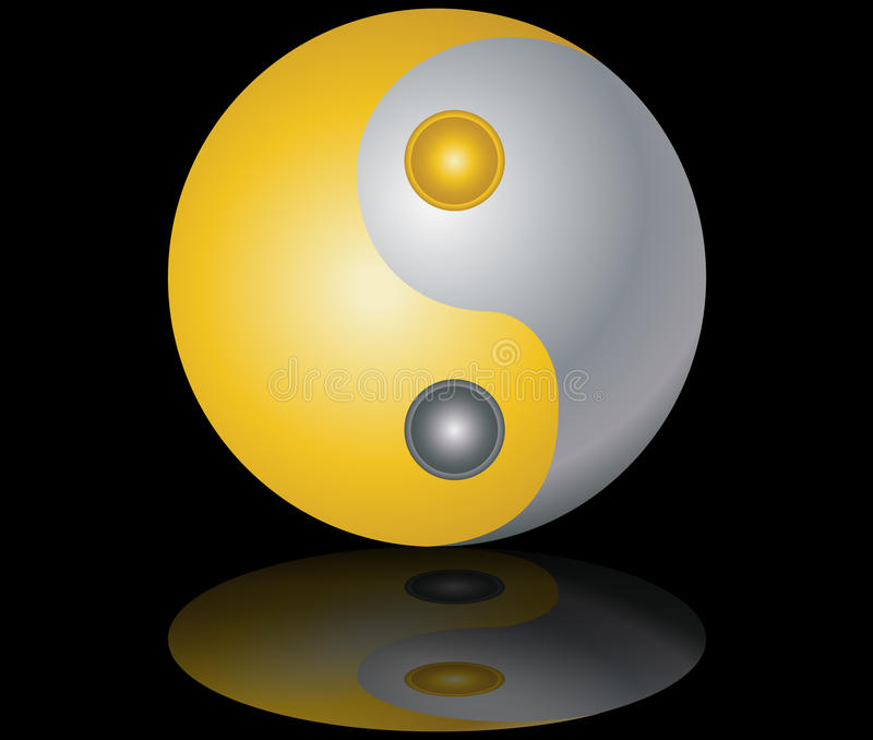 Yin and yang  gold and silver black background