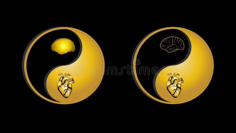 Yin-Yang gold symbol brain and heart human parts stock illustration