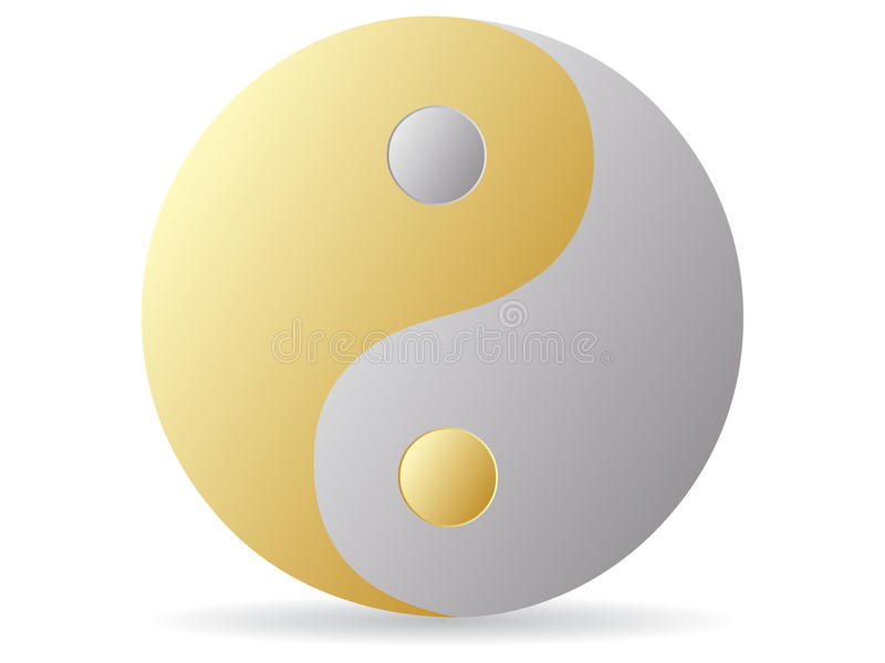 Yin and yang - golden and silver. Vector illustration vector illustration