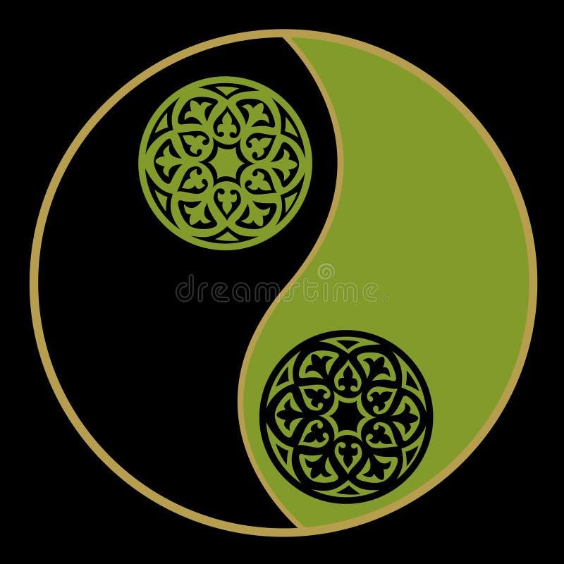 Yin-yang in green stock images