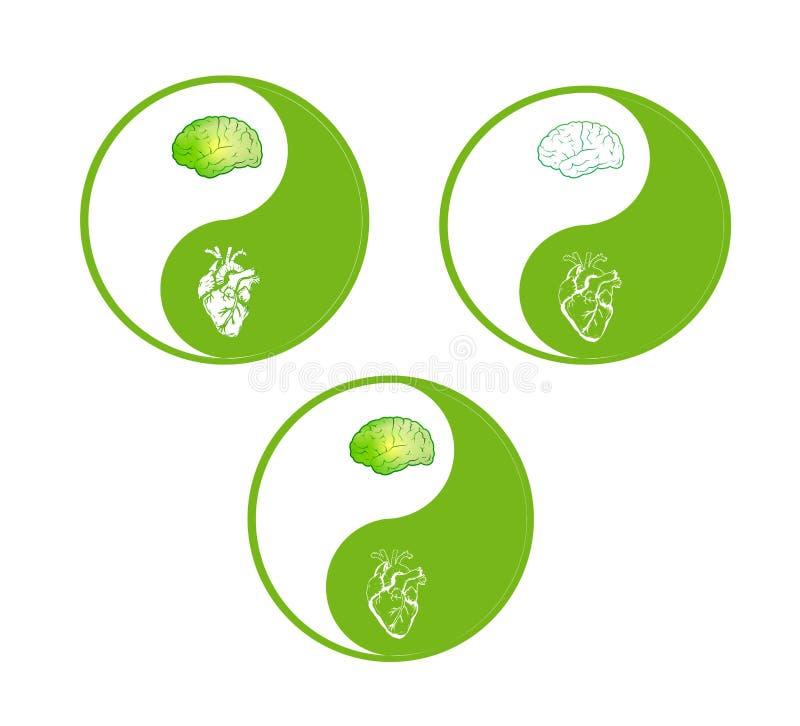 Yin-Yang green symbol brain and heart human parts vector illustration