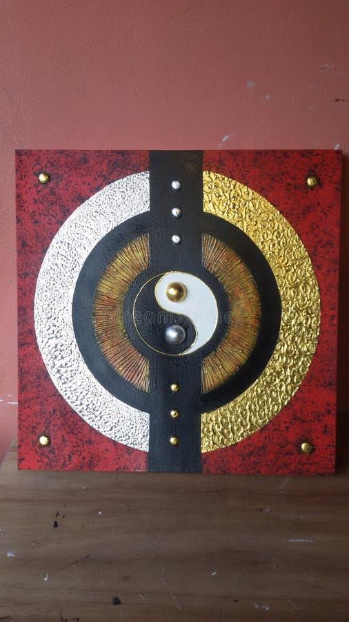 Yin Yang guld- & silverstil fotografering för bildbyråer