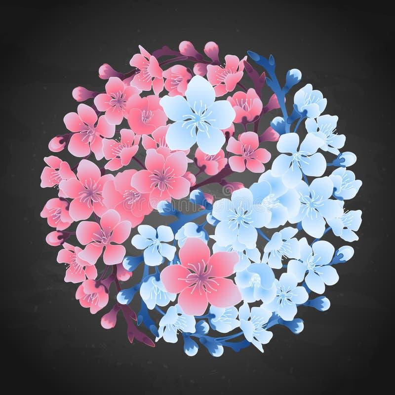 Yin Yang ha fatto di sakura illustrazione vettoriale