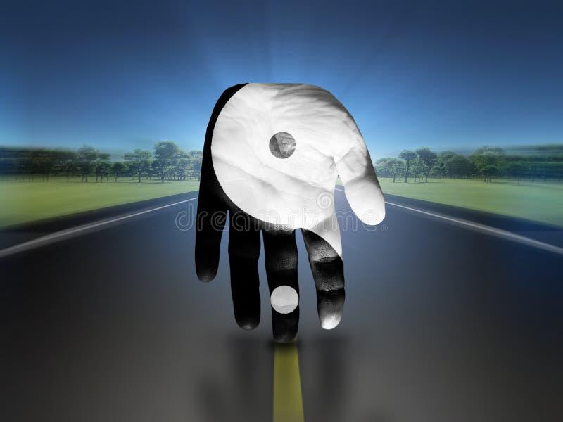 Yin Yang Hand ilustração do vetor