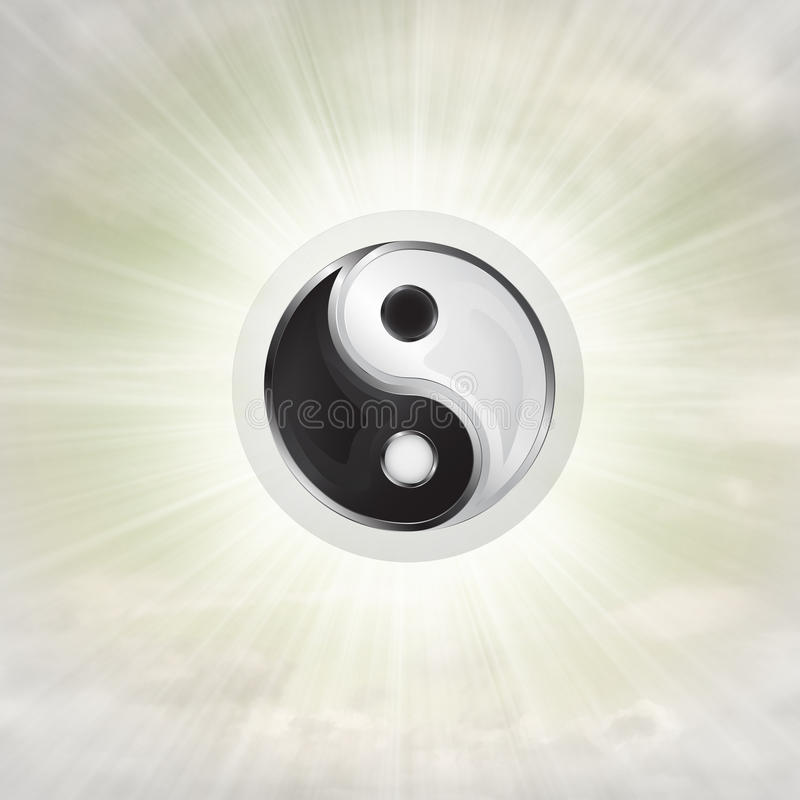 Yin yang harmony in glossy bubble in the air with flare royalty free illustration