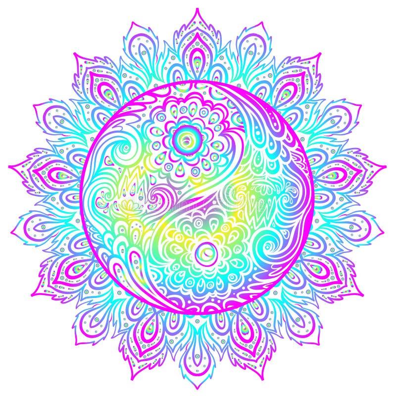 Yin Yang harmony sign over ornate mandala round pattern. vector vector illustration
