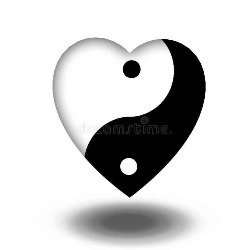 Yin Yang Heart royaltyfri illustrationer
