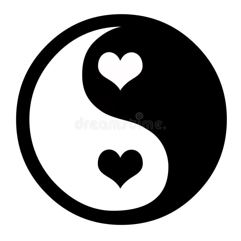 Yin Yang With Hearts royalty free illustration
