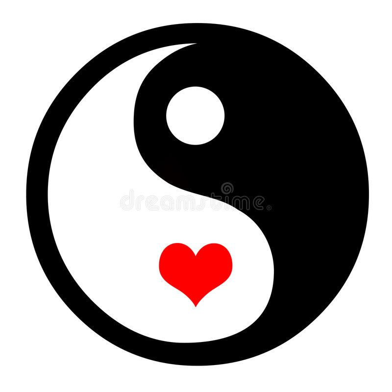 Yin Yang With Hearts. Asian Yin Yang Symbol In With Heart stock illustration