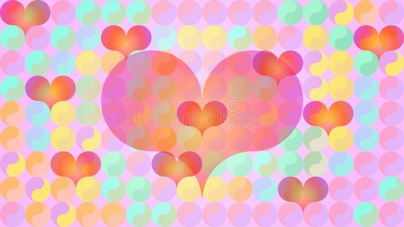Yin Yang hearts flat pastels vector illustration