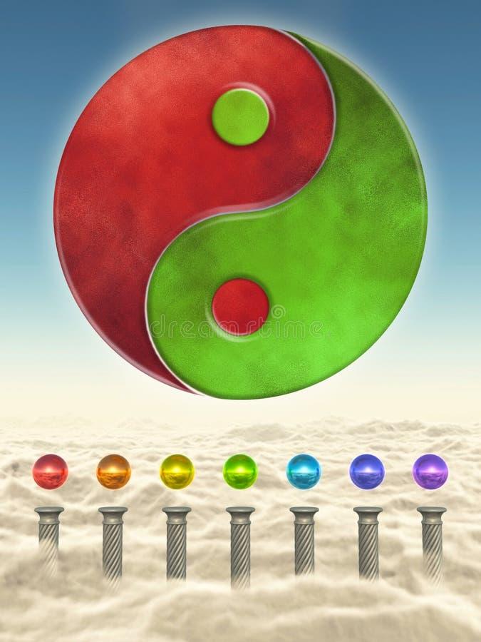 Yin Yang I Chakra sfery royalty ilustracja