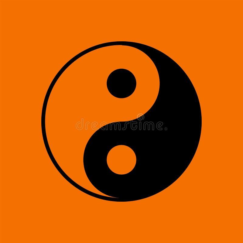 Yin And Yang Icon. Black on Orange Background. Vector Illustration royalty free illustration