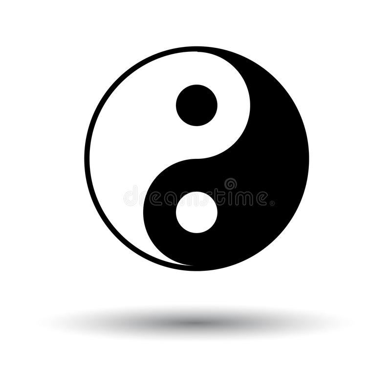 Yin And Yang Icon. Black on White Background With Shadow. Vector Illustration royalty free illustration
