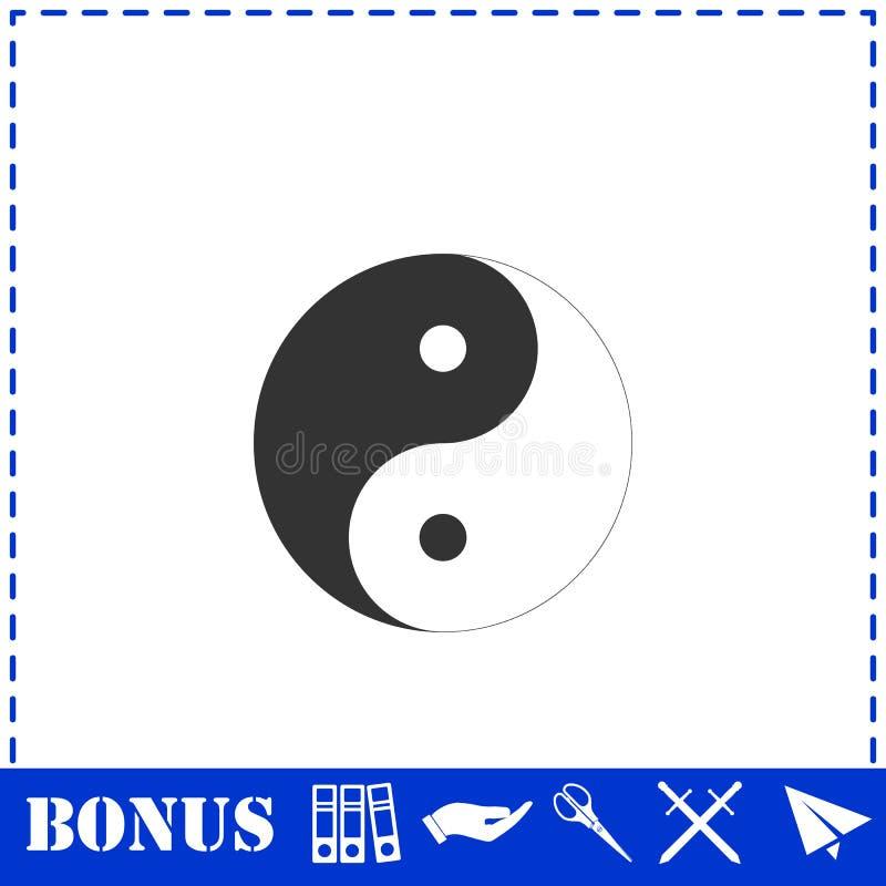 Yin Yang icon flat. Simple vector symbol and bonus icon royalty free illustration