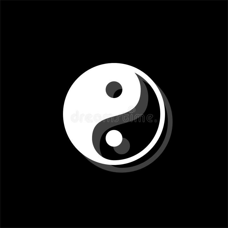 Yin Yang icon flat. Yin Yang. White flat simple icon with shadow royalty free illustration