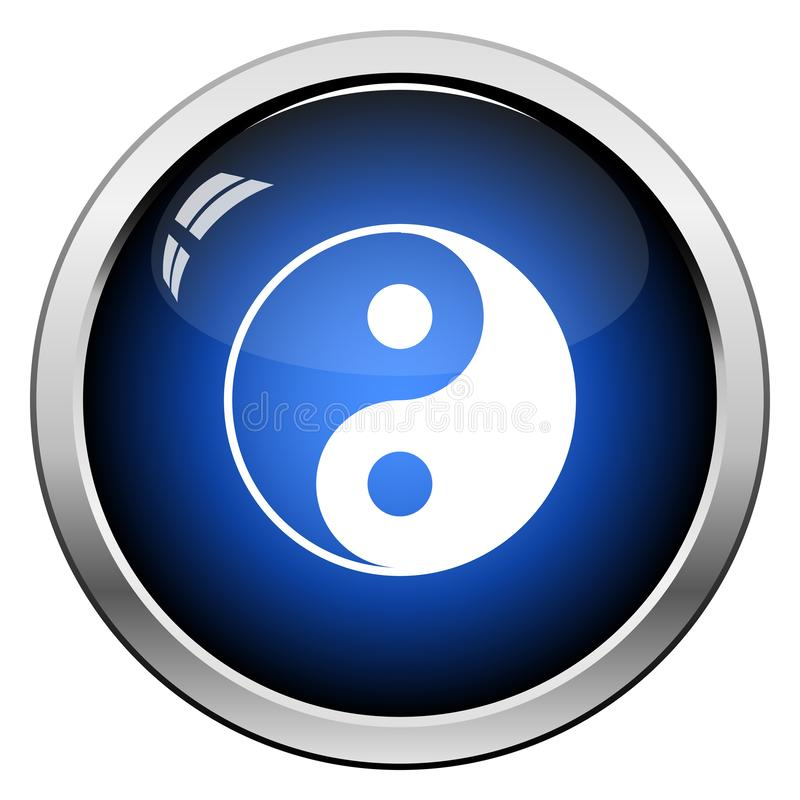 Yin And Yang Icon. Glossy Button Design. Vector Illustration royalty free illustration
