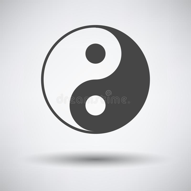 Yin and yang icon. On gray background with round shadow. Vector illustration vector illustration