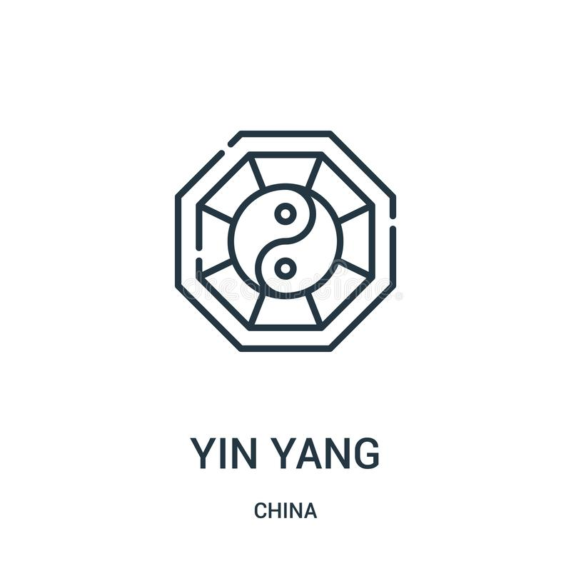 yin yang icon vector from china collection. Thin line yin yang outline icon vector illustration. Linear symbol for use on web and royalty free illustration